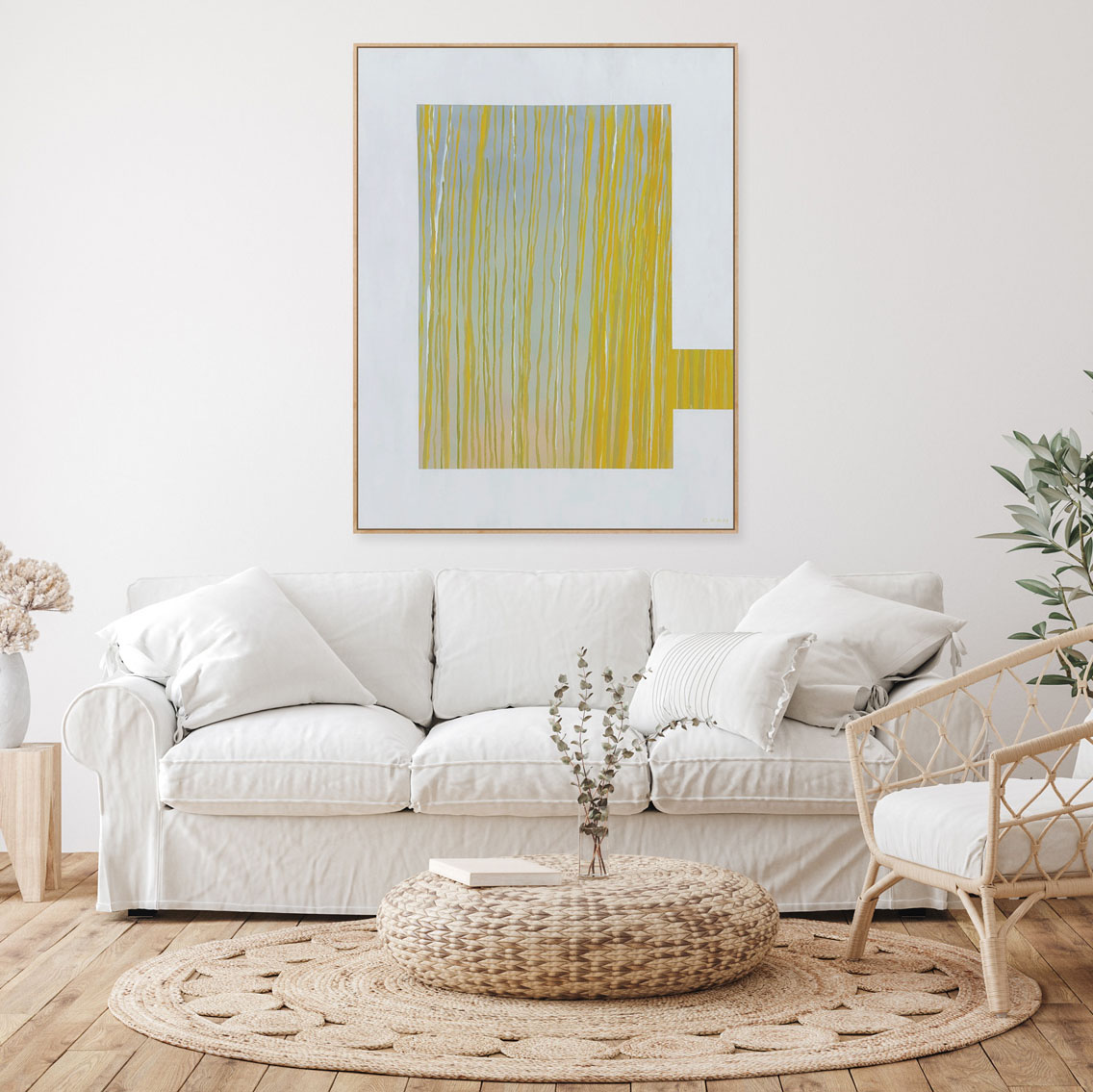 Farmhouse living room interior background, wall mockup, 3d rende